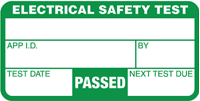 Typical PAT test pass label