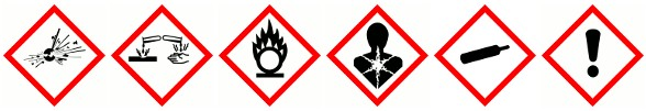Chemical warning label pictograms