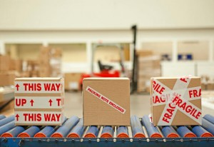 Box end and packaging safety labels.