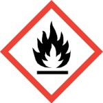 CLP Flammable Material Danger Warning Label